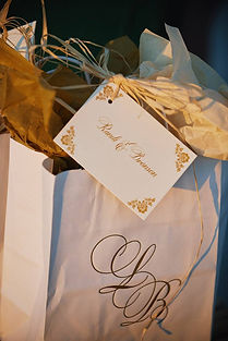 Wedding Hotel Guest Bags printed by Lucky Invitations. Photo by Paul Johnson photography.