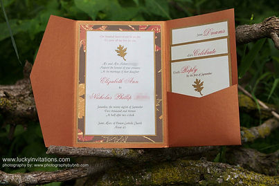 Copper pocket fold wedding invitation suite with fall theme, by Lucky Invitations.