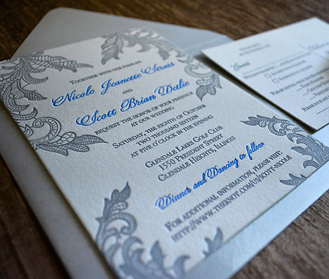 Lace letterpress wedding invitation suite, by Lucky Invitations - Chicago.