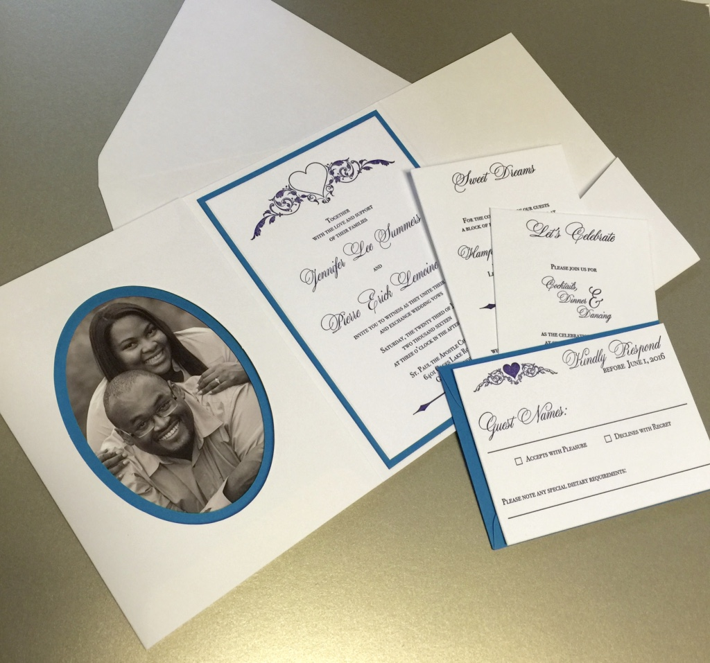 Photo pocket fold letterpress invitation by Lucky Invitations