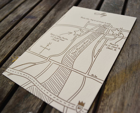 Hand drawn wedding map letterpress printed, by Lucky Invitations. Chicago Wedding.
