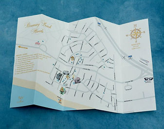 Custom designed wedding map of Rosemary Beach, Florida by Lucky Invitations.