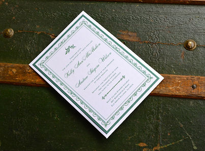 Green and white layered wedding invitation, by Lucky Invitations.