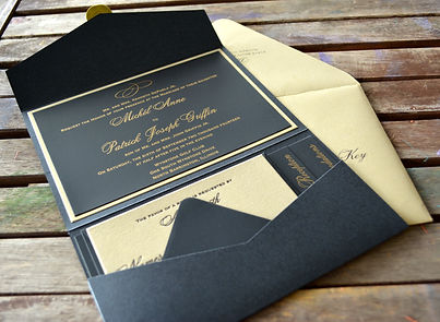 Black and Gold letterpress wedding invitation suite, by Lucky Invitations. Chicago Milwaukee Lake County, Illinois