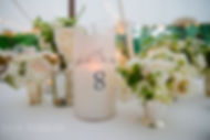 Custom designed hurricane candle wrap with table number - Locusts on Hudson Wedding, by Lucky Invitations. Photo: Dave Robbins Photography