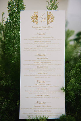 Rosemary Beach Rehearsal Dinner Menu, by Lucky Invitations. Photo by Paul Johnson photography.
