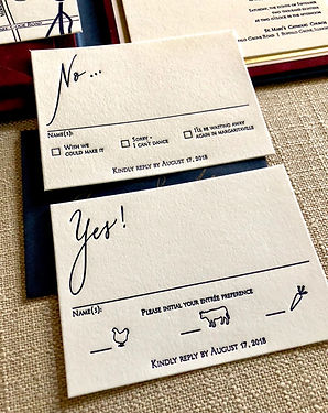 Yes and No wedding RSVP Cards, by Lucky Invitations.
