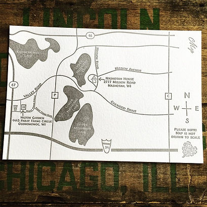 Letterpress printed hand drawn wedding map, by Lucky Invitations. Chicago - Lake County, Illinois