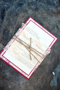 lace wrapped wedding invitation by lucky invitations