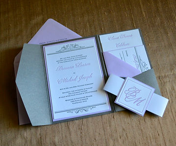Classic letterpress wedding invitation pocketfolder in lavendar and gray, by Lucky Invitations.