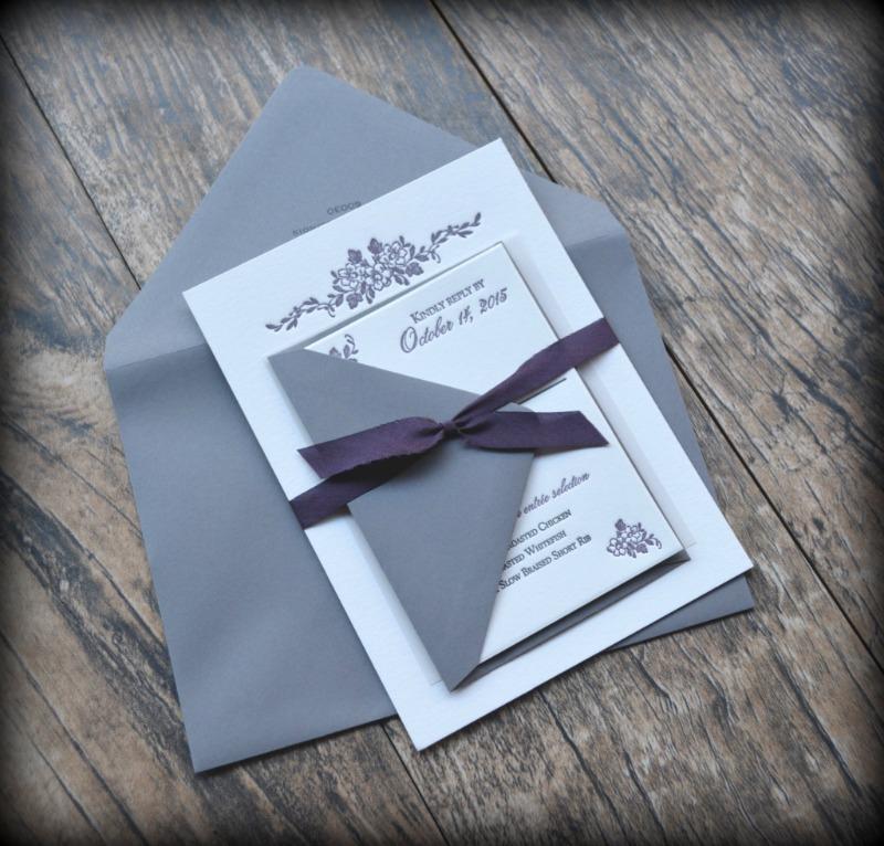 Gray and Plum Letterpress Invitation