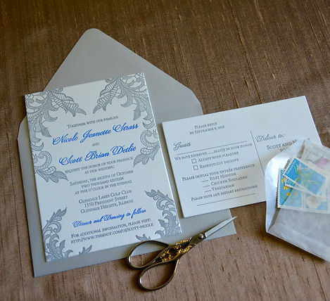 Lace wedding invitation in letterpress, by Lucky Invitations - Chicago.
