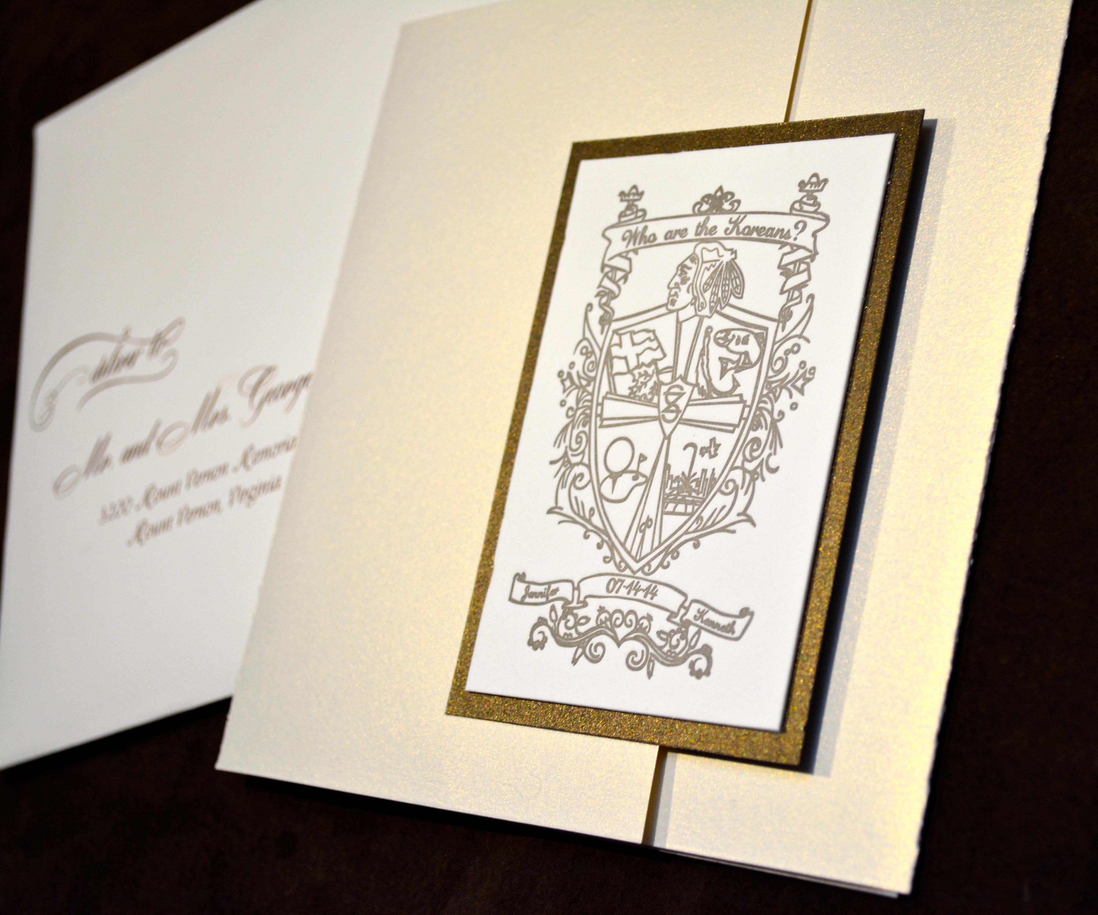 Letterpress Crest Wedding Invitation