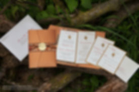 Fall wedding invitation suite with leaf detail, by Lucky Invitations.