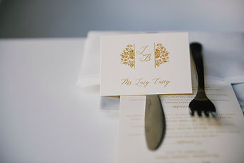 Rehearsal dinner place card and menu by Lucky Invitations. Photo by Paul Johnson photography.