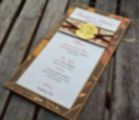 Layered wedding menu with custom oak tree medallion, by Lucky Invitations.