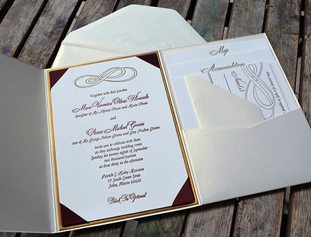 Custom letterpress wedding invitation suite with infinity design, by Lucky Invitations. Chicago Wedding.