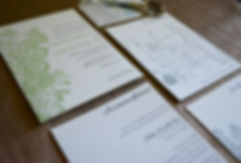 Green floral letterpress wedding invitation suite, by Lucky Invitations. Chicago Wedding. Pantone Greenery.