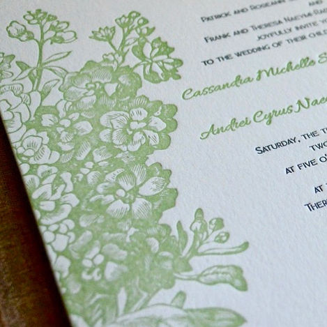 Green floral letterpress wedding invitation, by Lucky Invitations.
