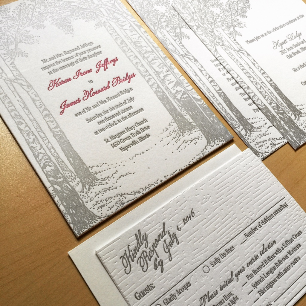 Birch Tree letterpress Wedding Invitation by Lucky Invitations