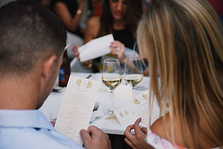 Wedding rehearsal dinner. Menus and place cards by Lucky Invitations. Photo by Paul Johnson photography.
