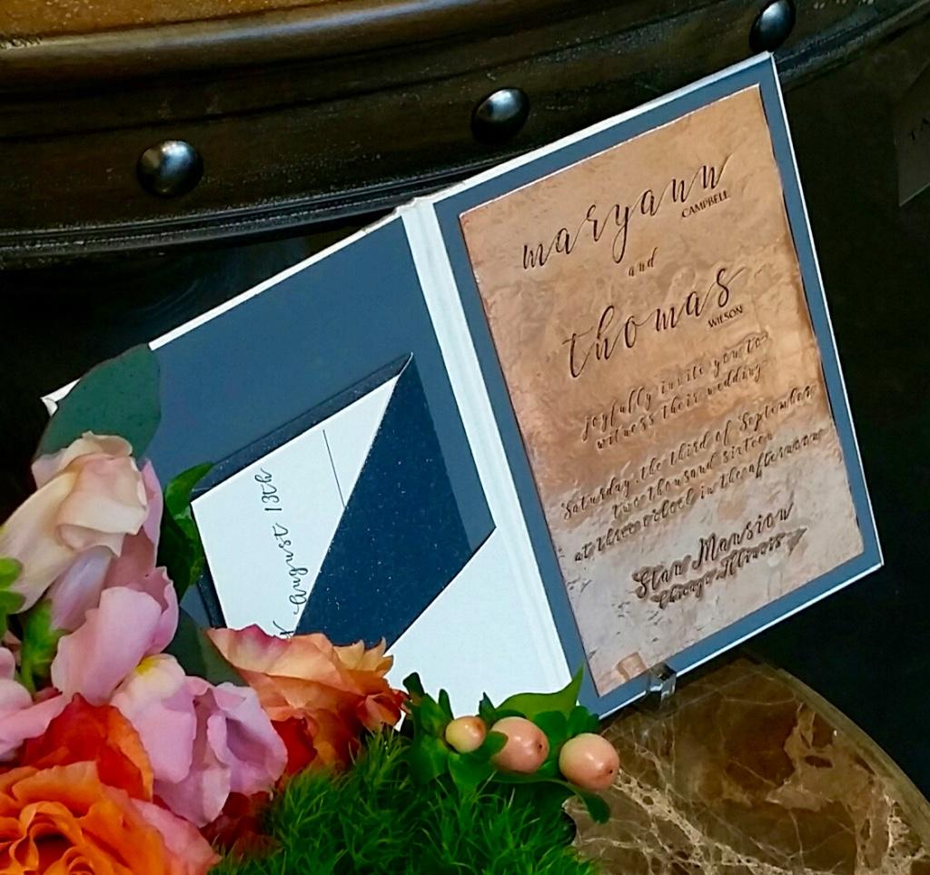 letterpress invitation on copper