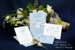 blue and white letterpress wedding invitation-wgc