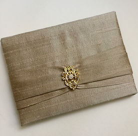 Silk keepsake wedding invitations by Lucky Invitations.