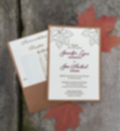Chicago letterpress wedding invitation mounted on panel pocket, by Lucky Invitations.