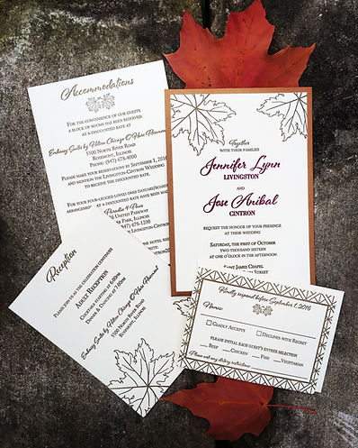 Custom designed letterpress wedding invitations with stunning autumn design, by Lucky Invitations.