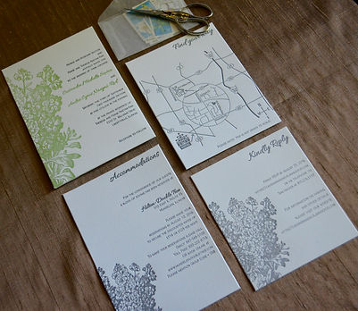 Letterpress Wedding Invitation suite with floral design and custom wedding map, by Lucky Invitations. Chicago Milwaukee Lake County, Illinois