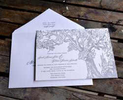 Fall Oak tree Letterpress Invite