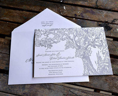 Rustic letterpress wedding invitation with large oak tree, by Lucky Invitations.