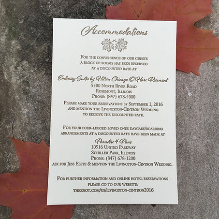 Letterpress accommodations card for Chicago Wedding with pet boarding information, by Lucky Invitations.