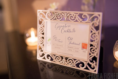 Framed signature wedding cocktail sign by Lucky Invitations.