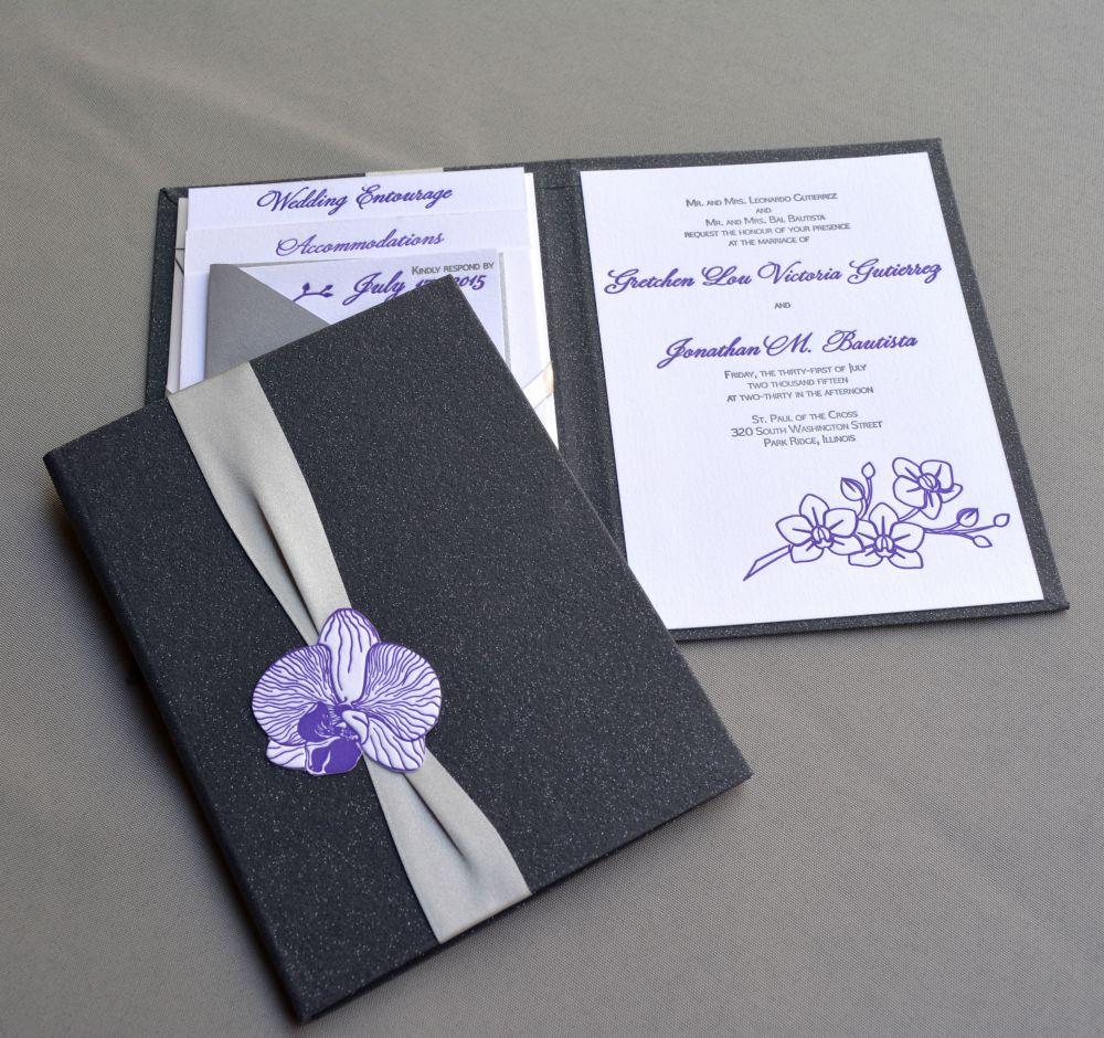Orchid letterpress Wedding Invitatio