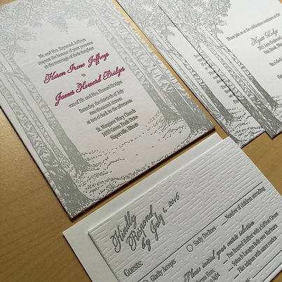 Letterpress wedding invitation suite with birch tree design, by Lucky Invitations.