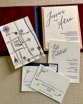 Luxury wedding invitation. Book style invitation lined with velvet, by Lucky Invitations.