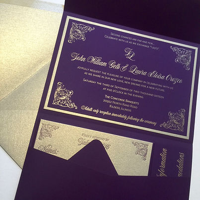 Luxury letterpress wedding invitations in purple with gold ink, by Lucky Invitations.