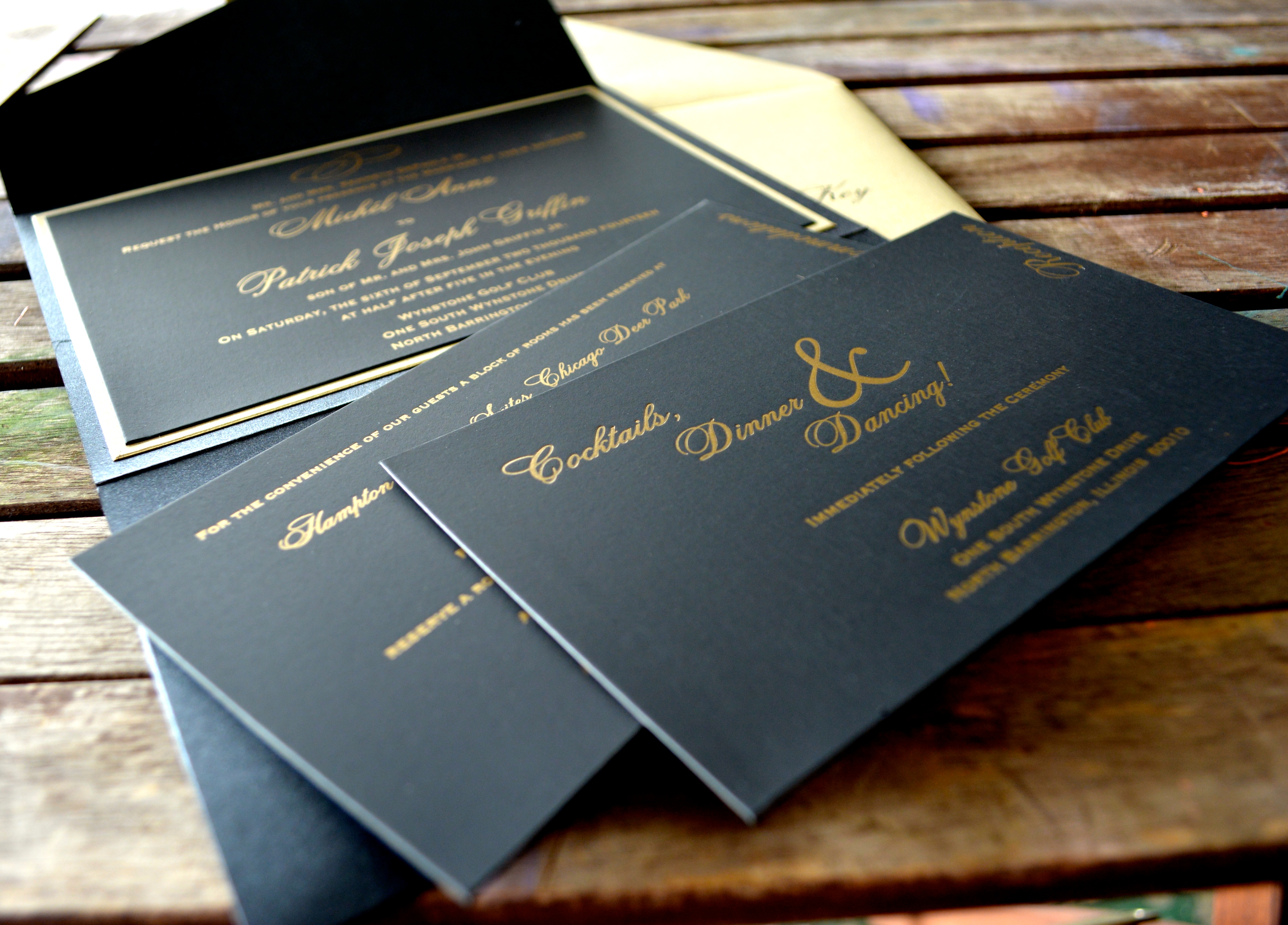luxe black and gold wedding invitation suite