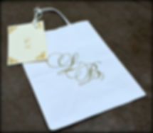 Wedding guest hotel bags printed by Lucky Invitations.