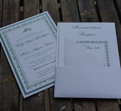 Green and white layered wedding invitation with panel pocket design for enclosure cards, by Lucky Invitations.