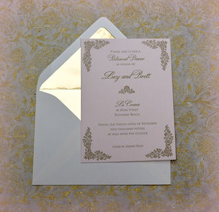 Blush and gold letterpress wedding rehearsal dinner invitation, by Lucky Invitations. Chicago wedding invitations.