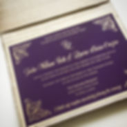 Keepsake wedding invitation. Gold letterpress printed on purple luxury paper, by Lucky Invitations.