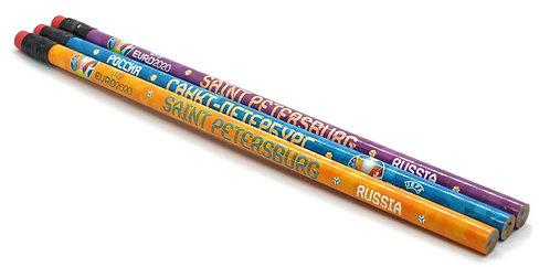 Набор простых карандашей 3 шт Эмблема UEFA ЕВРО-2020