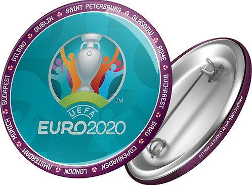 Значок 44 мм Эмблема на бирюзовом фоне UEFA ЕВРО 2020