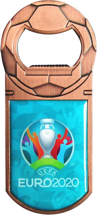 Открывалка металлическая 9 см цв. медь Эмблема UEFA ЕВРО-2020