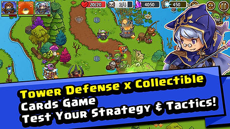 Tower defense strategy game, collectible card game