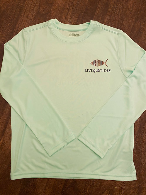 Youth LBTT Logo Fish Aqua Mist Long-sleeve Denali Performance Shirt