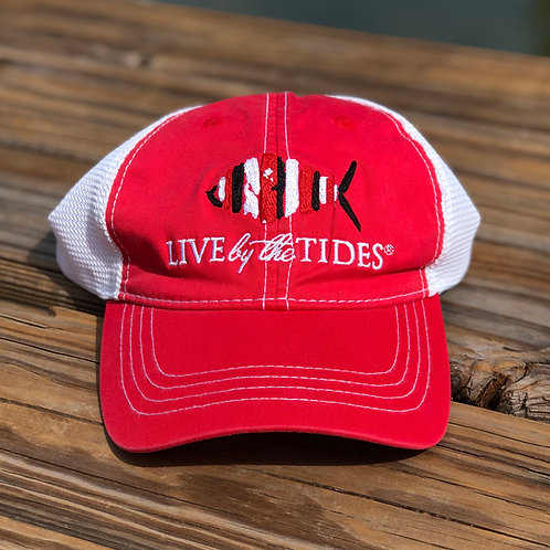 Relaxed Fit Gameday Trucker - Red & White Mesh